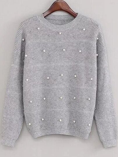 Grey Drop Shoulder Beaded Sweater
