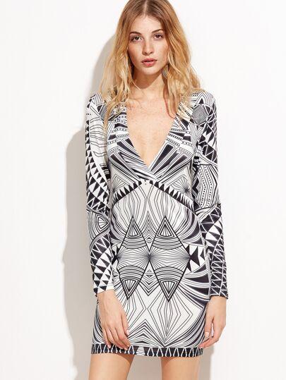 Black And White Geometric Print Deep V Neck Dress