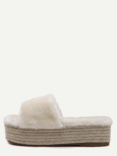Apricot Rabbit Hair Peep Toe Espadrille Platform Slippers