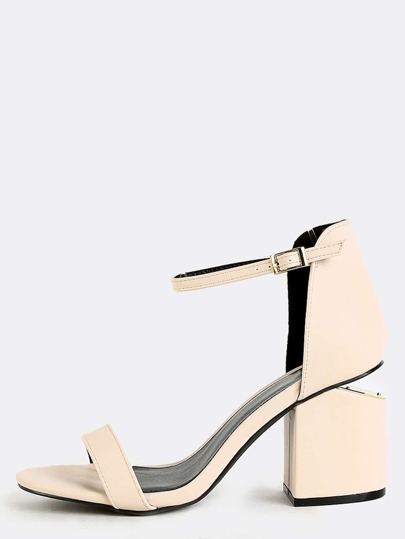 Ankle Strap Cut Out Block Heels NUDE