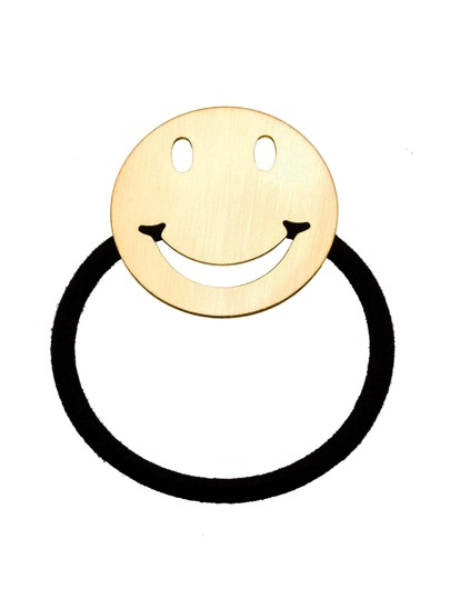 Gold Plated Smiley Face Hair Tie