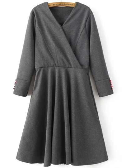 Grey V Neck Button Sleeve Wrap Dress