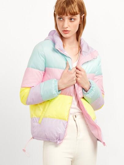 Blouson couleur bloc avec zip et capuche