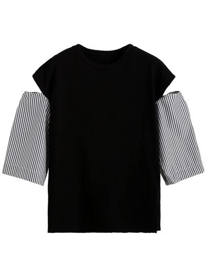 T-Shirt Spalle Aperte Contrasto Maniche A Strisce - Nero