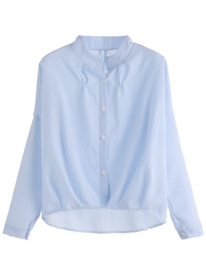 Blue Vertical Striped High Low Shirt