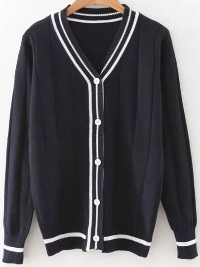 Black Striped Trim Button Up Cardigan