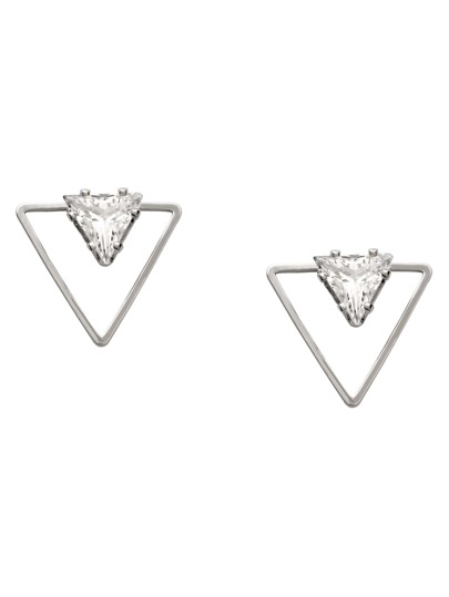 Silver Hollow Triangle Rhinestone Stud Earrings