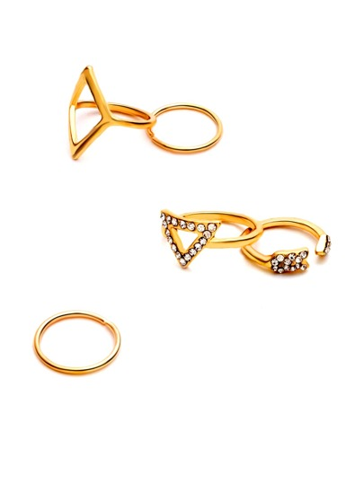 5PCS Gold Rhinestone Geometric Ring Set