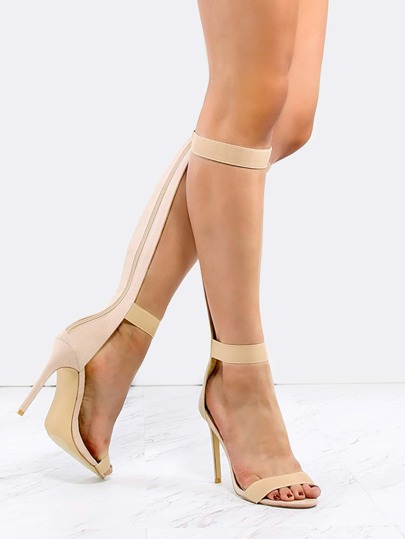 Elastic Straps Knee High Heels NUDE