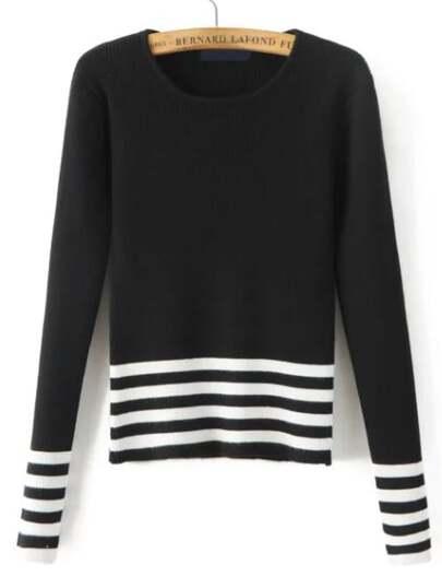 Black Striped Split Sleeve Knitwear