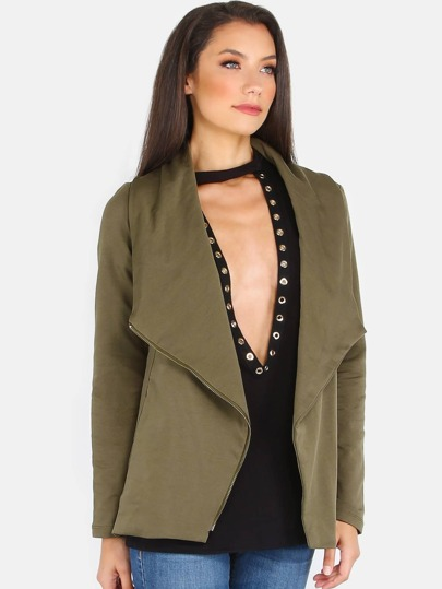 Lapel Zip Jacket OLIVE