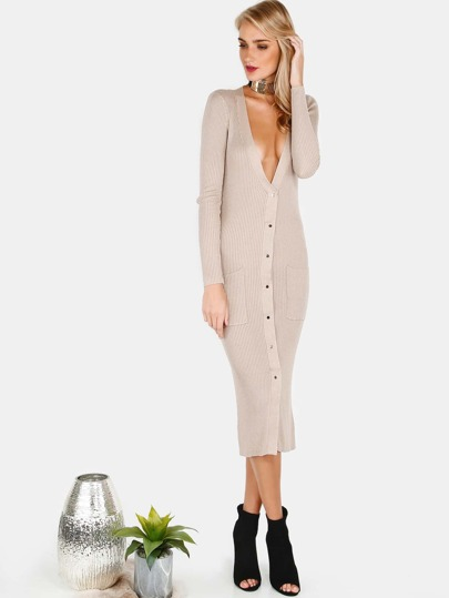 Ribbed Button Down Longline Cardigan BEIGE
