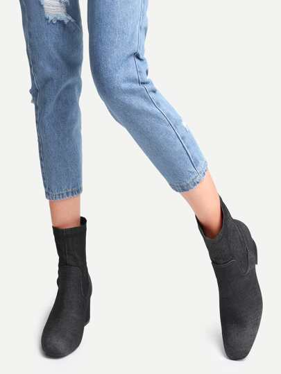 Black Denim Point Toe Chunky Heel Boots