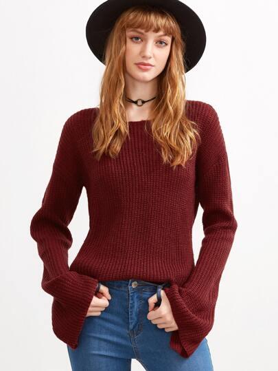 Burgundy Bell Sleeve Slouchy Sweater