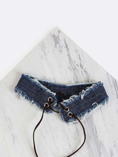 Distressed Lace Up Denim Choker DENIM