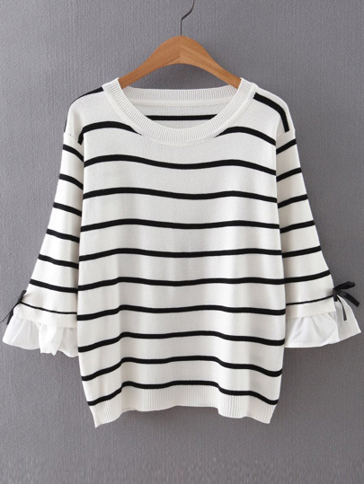 White Striped Ruffle Sleeve Sweater With Bow Tie