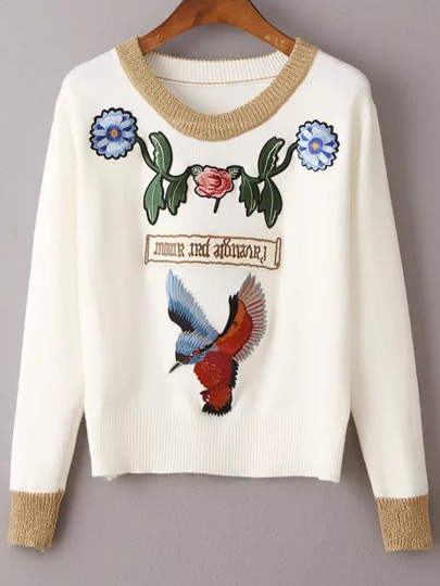 White Bird Embroidery Contrast Trim Sweater