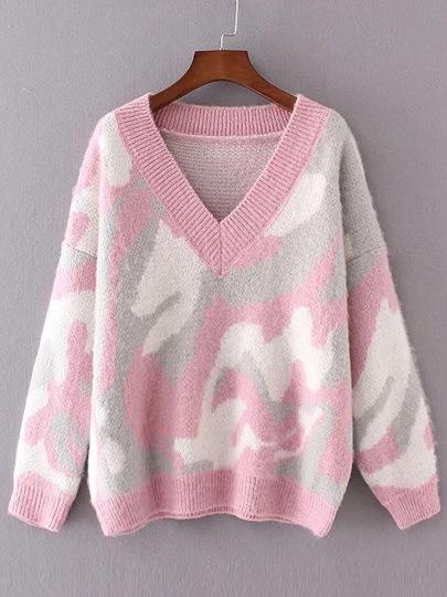 Pink Leopard Print Drop Shoulder Sweater