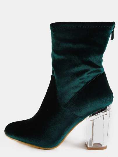 Velvet Crystal Heel Ankle Boots EMERALD