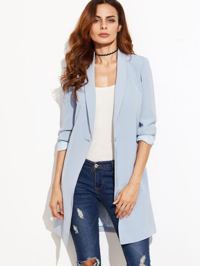 Blue Shawl Collar One Button Longline Blazer