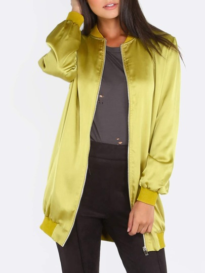 Yellow Ribbed Trim Zip Up Long Satin Bomber Jacket