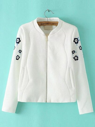 White Flower Embroidered Zipper Up Coat With Pockets
