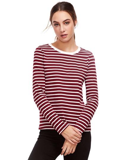 Borgogna a maniche lunghe a righe T-shirt