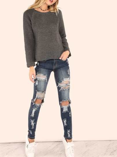 Dark Washed Distressed Sexy Boyfriend Jeans DENIM