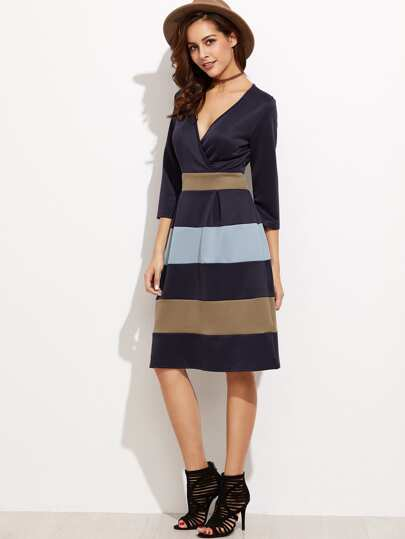 Navy Deep V Neck A-Line Dress