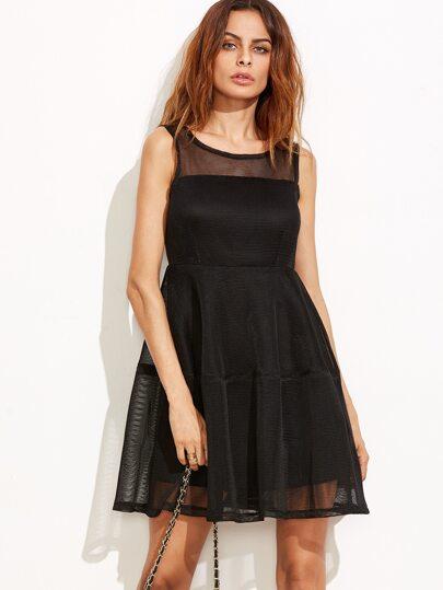 Black V Back Mesh A-Line Dress With Zip