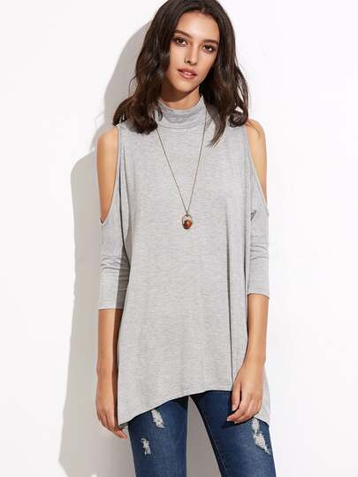 Heather Grey High Neck Keyhole Back Cold Shoulder T-shirt