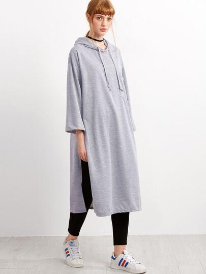 Grey Slit Side Hooded Long Sweatshirt