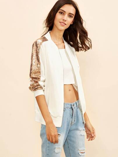 White Sequin Striped Sleeve Bomber Jacket