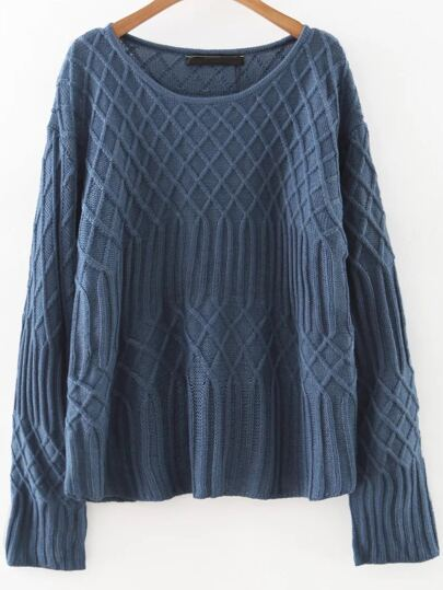 Blue Diamond Pattern Round Neck Sweater
