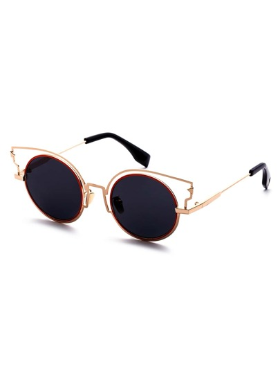 Cat Eye Grey Lenses Round Sunglasses