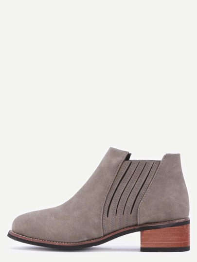 Grey Brown Faux Leather Elastic Cork Heel Ankle Boots