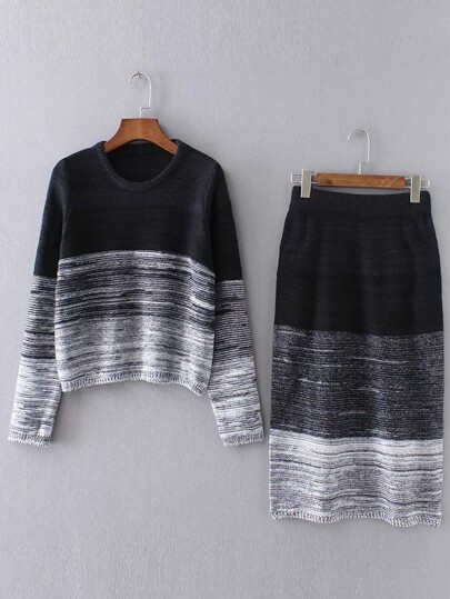 Black Ombre Ribbed Trim Sweater With Skirt