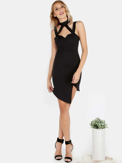 Halter Neck Bustier Asymmetrical Dress BLACK