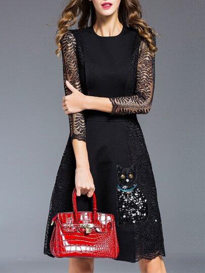Vestido sin mangas con bordado de pavo real - negro