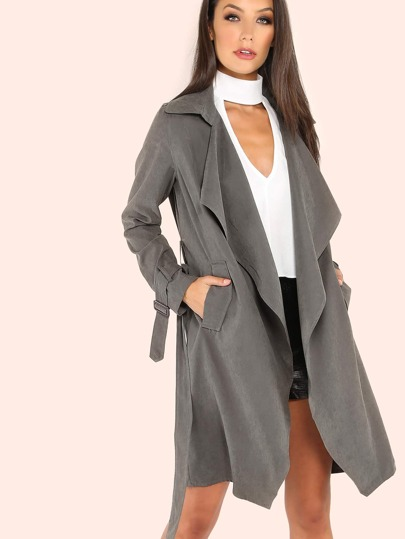 Sueded Belted Trench Coat GREY