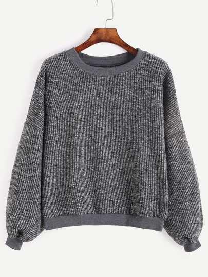 gerippte Pullover Drop Schulter -dunkel grau