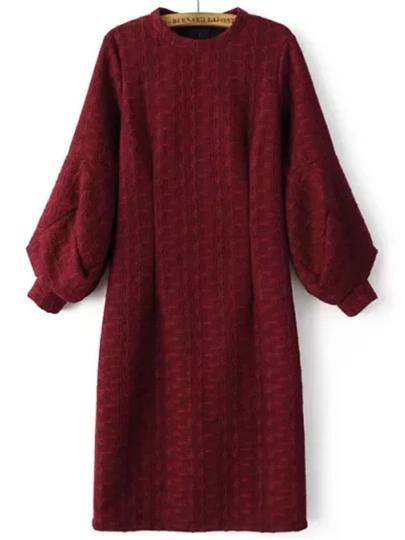 Vestido con cuello redondo con manga farol con abertura - borgoña