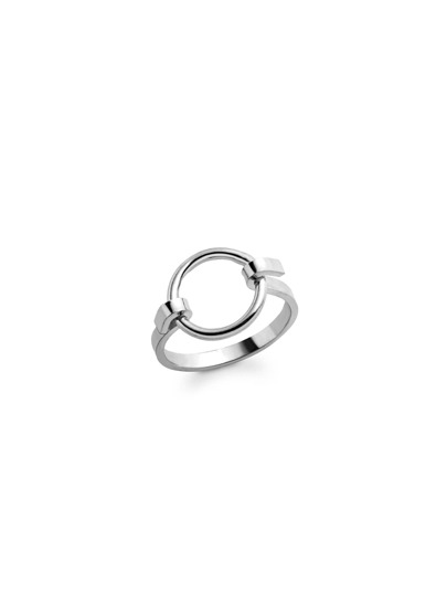 Silver Plated Circle Hollow Out Ring