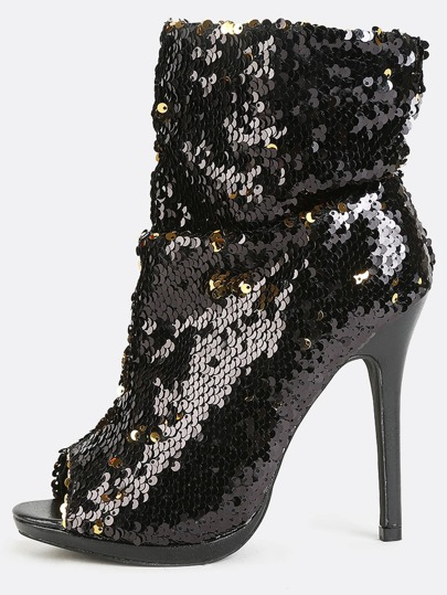 Peep Toe Sequin Ankle Boots BLACK