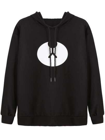 Black Graphic Print Hooded Sweatshirt