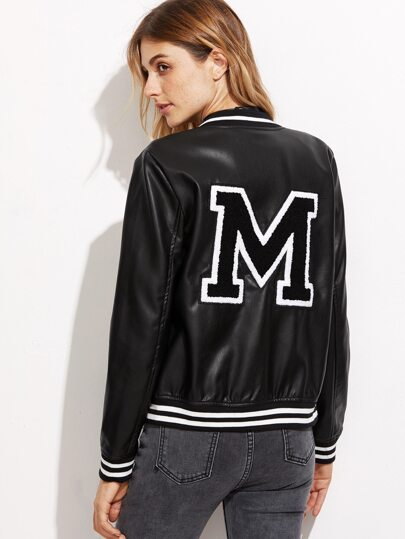 Black Striped Trim Letter PU Jacket