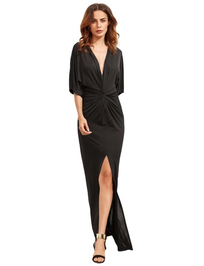 Black Half Sleeve Knot Split Maxi Dress