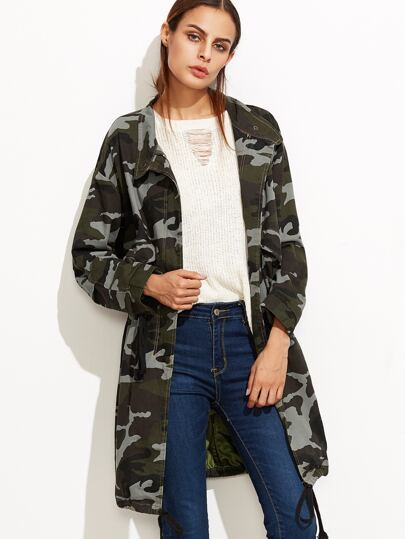 Camo Print Drop Shoulder Drawstring Zipper Coat