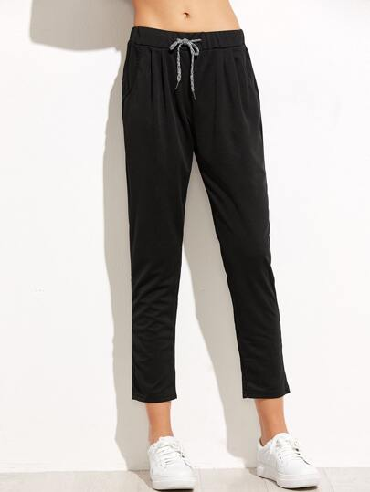 Black Drawstring Waist Peg Pants