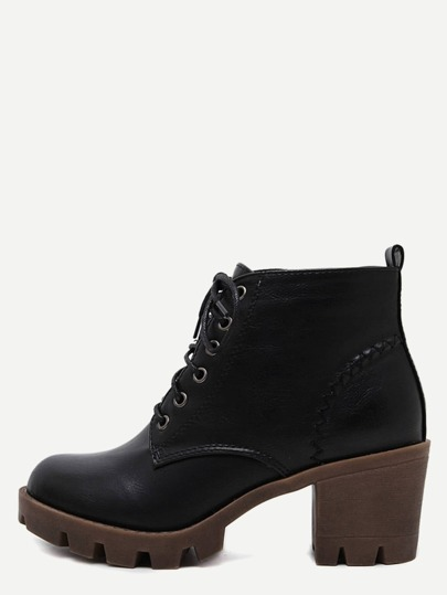 Black Distressed PU Lace Up Rubber Soled Chunky Boots